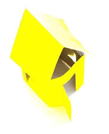handmade yellow house  of cardboard