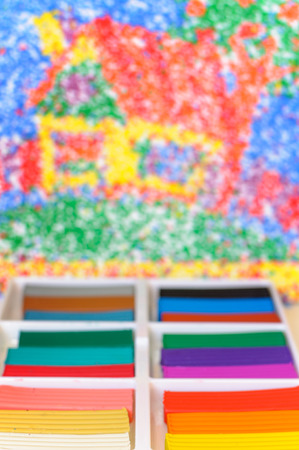 clay modeling: Multicolor modeling clay blocks background. Colorful blurred background with plasticine