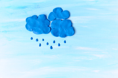 clay modeling: Rain clouds. Made from modeling clay Stock Photo