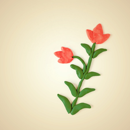 modeling clay: modeling clay flowers isolated on white background