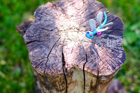 modeling: Dragonfly made of modeling clay on natural background