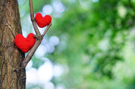 Two red hearts. valentines day postcard, I love you, Standard-Bild