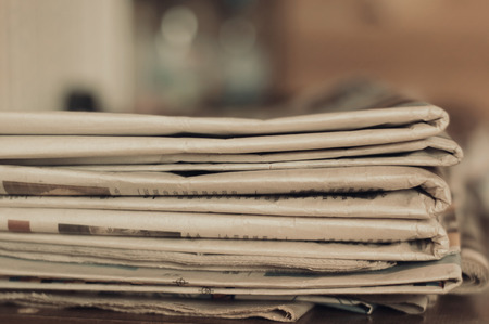 newspaper: stack of old newspapers Stock Photo