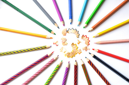colored pencils: Colored pencils on white