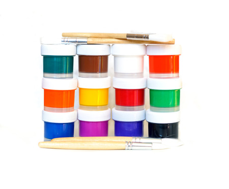 paints: paints and brushes  isolated on white background