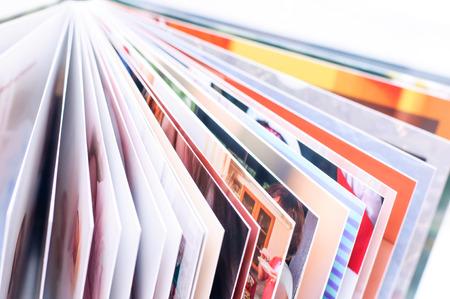 Photpbook. Open fotoboek. Nieuw fotoboek Stockfoto