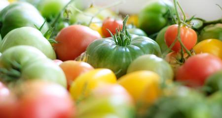 tomate cherry: Tomates. los tomates de colores en la tabla velaron el fondo.