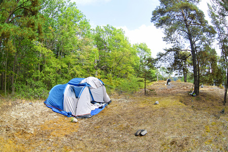 nature landscape camping tent in forest on green grass meadow. The travel closer to nature by creating temporary accommodation