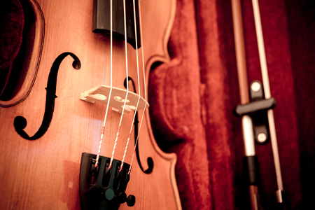 Close up of violin shallow deep of field