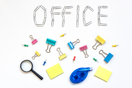 Set of office stationery. Office tools. Office desk background with set of office stationery. View from above with copy space