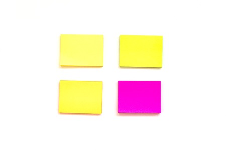 Blank multi-colored paper blocks for notes on white background. The concept of study, summary, planning. View from above with copy space Stock Photo