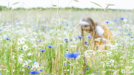 Little pretty girl in yellow Russian dress picking flowers in field of wild flowers on summer day. Focus on flowers.