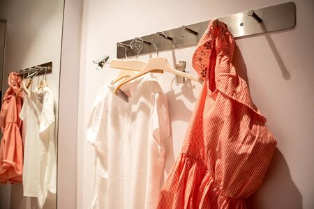 Making a purchase at clothing store, fitting room, display cases, hangers. Women's clothing on a hanger in fitting room for women's clothing.