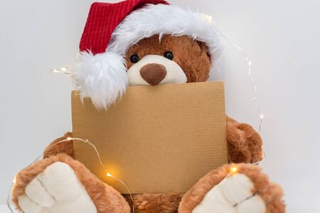 Christmas card with Teddy bear holding a place for text and other Christmas decor light garland. Toned photo, copy space.