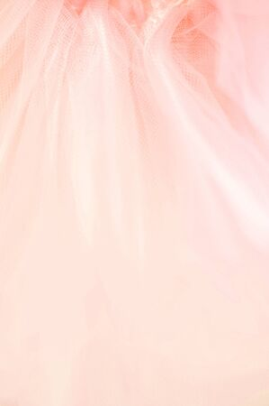 Beautiful delicate peach pink background mesh fluffy fabric. Selective soft focus. 免版税图像