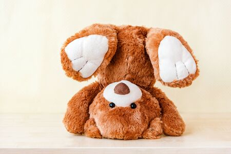 Handstand stuffed toy. Funny Teddy bears turned upside down, falling over.