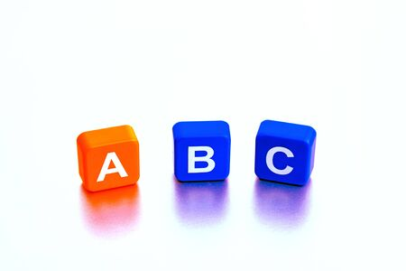 Isolated Childs ABC Learning Blocks. Educational Playful Toy Photography. 免版税图像