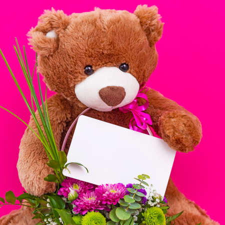 Teddy bear holding blank card and small bouquet on pink