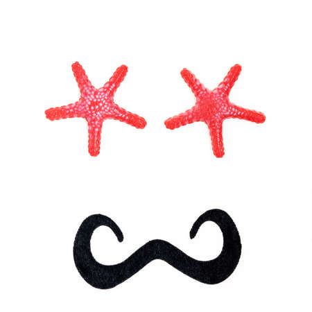 Male anthropomorphic face, with starfish eyes and black mustache