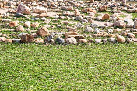 Photo of rockery rock garden. gardening background panoramic view