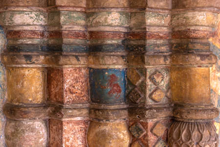 Wall decor with colorful ornament at Rostov Kremlin