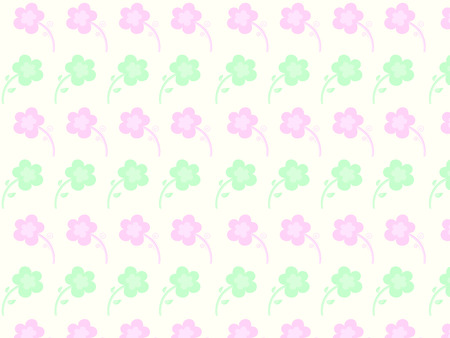 pale yellow: Abstract seamless pattern  Pink and green flowers on a pale yellow background  Vector illustration