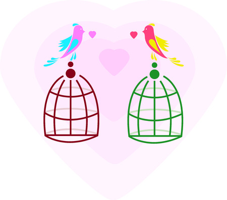 Lovers and free birds. Freedom and love. Card. Background. Vector illustration. Abstract pattern. Element. Icon Vector