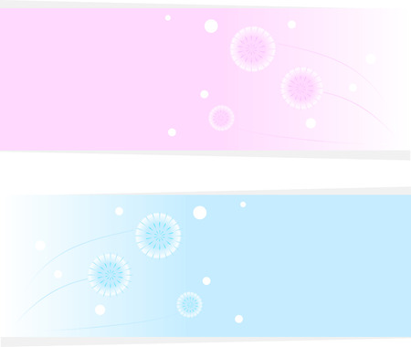 Card with a picture of dandelions. Blue and pink picture. Vector abstract illustration Vector