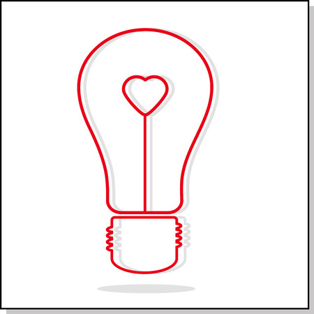 filament: Illustration of light bulb with heart