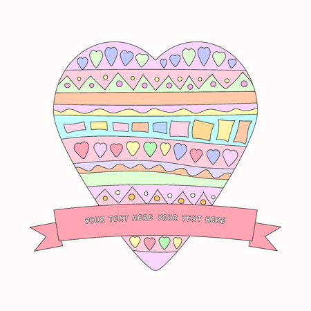 february 14th: Bright Doodle heart with ribbon. Symbolizes love. Can be used to Valentine Illustration