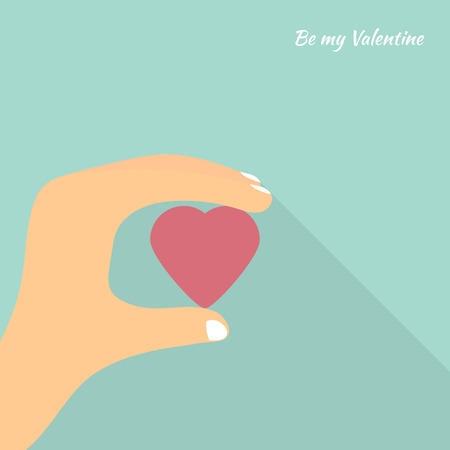 abstract symbolism: Vector greeting card for Valentines Day. Heart in hand. Be my Valentine