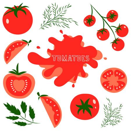 ensalada tomate: Conjunto de tomates rojos saludables frescas hechas en estilo plano. Grande para el diseño de estilo de vida saludable o la dieta. Solo tomate, la mitad de un tomate, una rodaja de tomate, tomate cherry. Ilustración del vector. Vectores