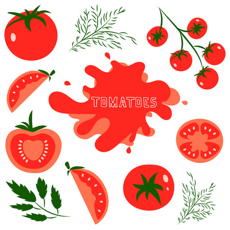 tomatoes: Set of fresh healthy red tomatoes made in flat style. Great for design of healthy lifestyle or diet. Single tomato, half a tomato, a slice of tomato, cherry tomato. Vector illustration. Illustration