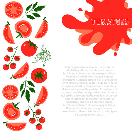 template for design with red tomatoes and place for your text