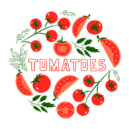 tomato plant: Template for design with red tomatoes. Illustrated cartoon background. Great for design of healthy lifestyle or diet.Vector illustration. Illustration