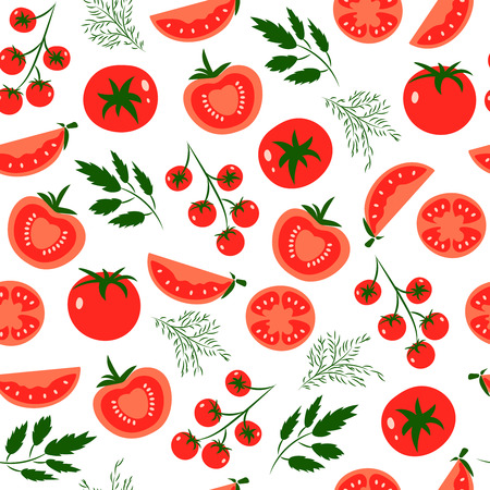 Vector seamless pattern with red tomatoes. Great for design of healthy lifestyle or diet. For wrapping paper, textiles and other food designs.Vector illustration.