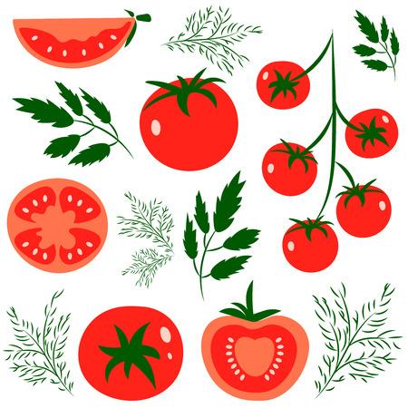 Set di pomodori rossi sani freschi fatti in stile piatto. Grande per la progettazione di stile di vita sano o la dieta. Unico pomodoro, mezzo pomodoro, una fetta di pomodoro, pomodorini. Illustrazione vettoriale. Vettoriali