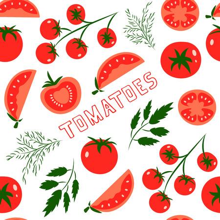 tomate cherry: Modelo inconsútil del vector con los tomates rojos. Grande para el diseño de estilo de vida saludable o la dieta. Para el papel de embalaje, textil y otra ilustración designs.Vector alimentos.