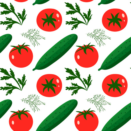 cucumbers: Vector seamless pattern with red tomatoes and ripe cucumbers.