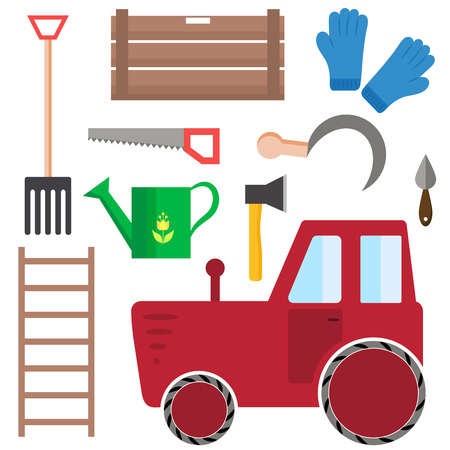 harvesting: Set of farming harvesting and garden tools in flat style. Agriculture, harvest or farm decorative icons.