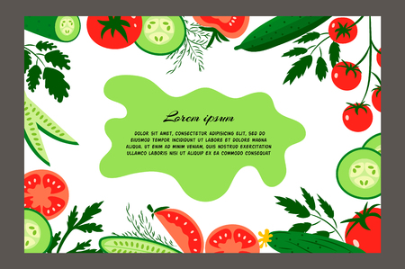 cucumbers: Red tomatoes and ripe cucumbers. Brochure. Food design template. Great for design of healthy lifestyle or diet. Illustration