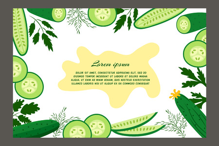cucumbers: Ripe cucumbers. Brochure. Food design template. Great for design of healthy lifestyle or diet. Illustration