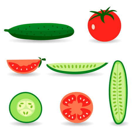 cucumbers: Red tomatoes and ripe cucumbers. Great for design of healthy lifestyle or diet. Illustration