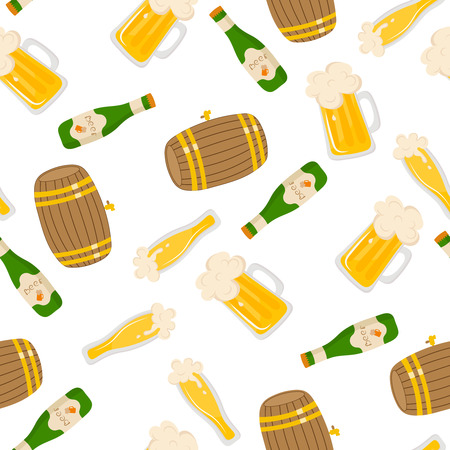 keg: Vector seamless pattern with beer bottle. Light beer, mugs, bottles, beer keg. Great for your creative design. For wrapping paper, textiles and other food designs.Vector illustration.