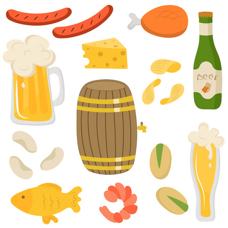 keg: Set of beer bottle and beer snacks made in flat style. Set icons for your creative design. Light beer, mugs, bottles, beer keg, sausages, snack, shrimp, cheese, chicken and fish. Vector illustration, isolated on white. Illustration