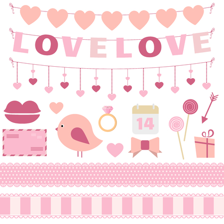 with sets of elements: Valentines Day vector set of bunting, lace ribbons and other decoration elements in flat style. Great for Valentines Day design and scrapbook. Vector illustration. More sets you can find in my portfolio