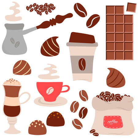 chocolate truffle: Coffee time theme - vector hand drawn doodle cartoon set of elements. For cafe menu, fliers an other design