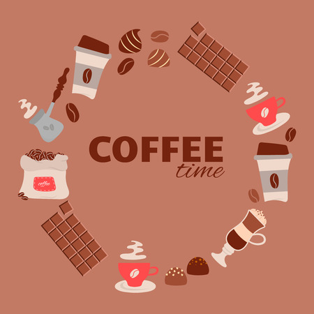 Coffee time theme - vector background. For cafe menu, fliers an other design. Round frame. Vector illustration