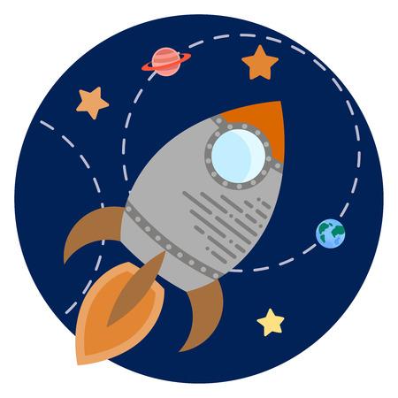 Space theme - Vector illustration of rocket, planets, stars Иллюстрация