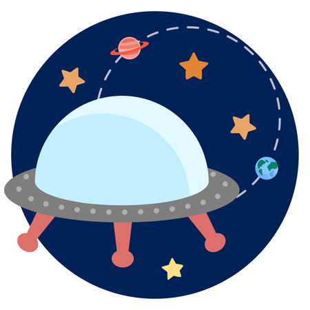 booster: Space theme - Vector illustration of ufo, planets, stars Illustration